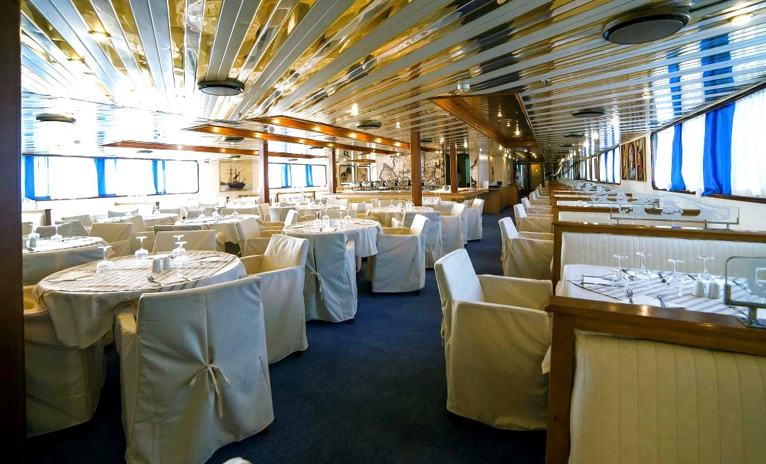 Dining room on board the one-day cruise ship - one-day cruise from Athens to 3 Greek islands - Athens one-day cruise - one-day cruise 3 islands Greece - Cruises in Greece - Greek cruises - Greek Travel Packages - Cruise Greek islands - Travel to Greek islands - Tours in Greece - Travel Agency in Greece