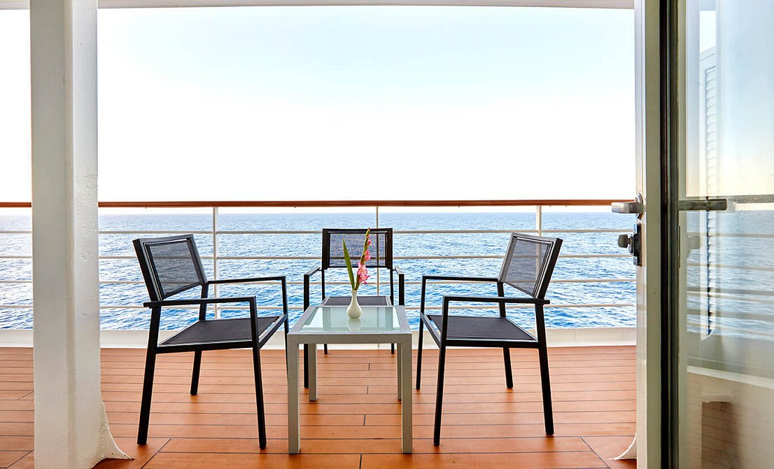 Celestyal Crystal - Balcony on SB and SG suites - 7-day cruise in Greece and Turkey - Cruises in Greece - Greek cruises - Greek Travel Packages - Cruise Greek islands - Travel to Greek islands - Tours in Greece - Atlantis Travel Agency in Athens Greece