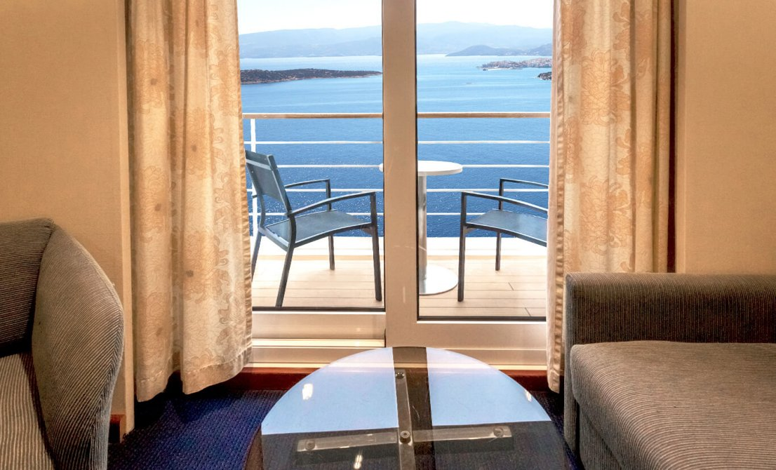 Celestyal Crystal - Balcony on SBJ junior suites - 7-day cruise in Greece and Turkey - Cruises in Greece - Greek cruises - Greek Travel Packages - Cruise Greek islands - Travel to Greek islands - Tours in Greece - Atlantis Travel Agency in Athens Greece