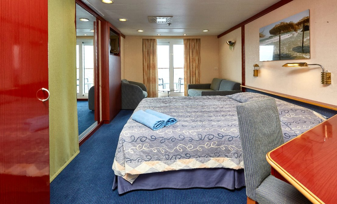 Celestyal Crystal - Category SBJ - Junior Balcony Suite - 7-day cruise in Greece and Turkey - Cruises in Greece - Greek cruises - Greek Travel Packages - Cruise Greek islands - Travel to Greek islands - Tours in Greece - Atlantis Travel Agency in Athens Greece