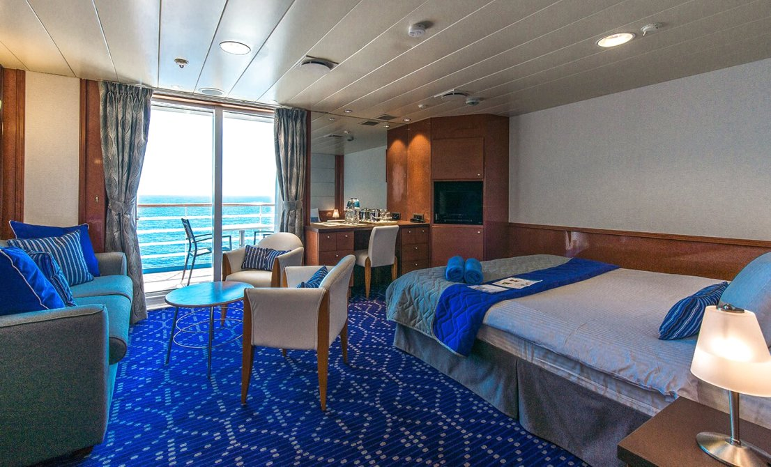 Celestyal Olympia cruise ship - Category SB - Balcony Suite - short cruise in Greece and Turkey - Cruises in Greece - Greek cruises - Greek Travel Packages - Cruise Greek islands - Travel to Greek islands - Tours in Greece - Atlantis Travel Agency in Athens Greece