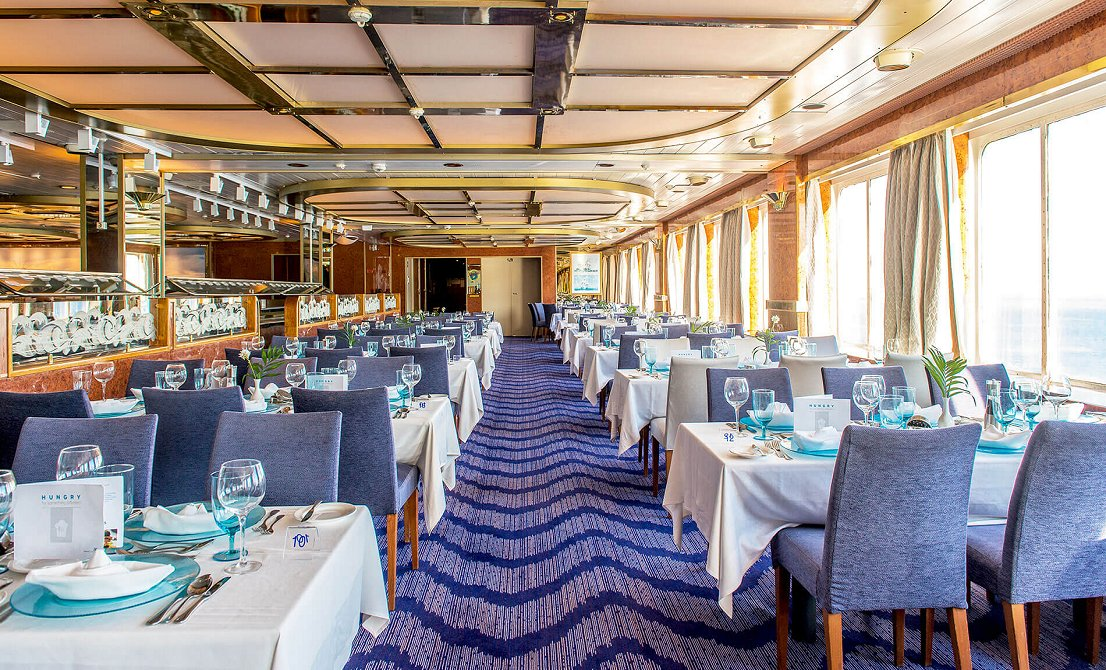 Celestyal Olympia cruise ship - Dining Room - short cruise in Greece and Turkey - Cruises in Greece - Greek cruises - Greek Travel Packages - Cruise Greek islands - Travel to Greek islands - Tours in Greece - Atlantis Travel Agency in Athens Greece