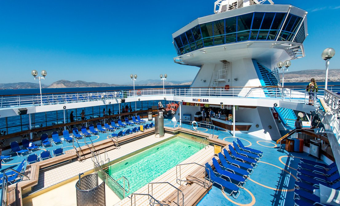 Celestyal Olympia - Swimming Pool Area - short cruise in Greece and Turkey - Cruises in Greece - Greek cruises - Greek Travel Packages - Cruise Greek islands - Travel to Greek islands - Tours in Greece - Atlantis Travel Agency in Athens Greece