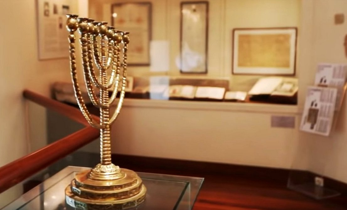 Menorah at the Jewish Museum of Athens - Walking Athens Jewish Tour - Atlantis Travel Agency - Jewish tour of Athens Greece - Greek travel packages - Greek Jewish tours