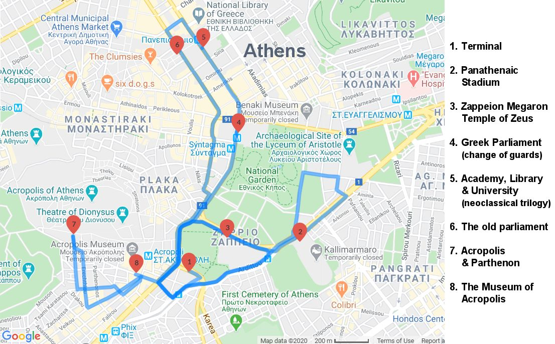 Map of the Athens Sightseeing Tour with the Museum of Acropolis - Acropolis - Parthenon - Museum of Acropolis - Athens half-day tour - Greek Travel Packages - Travel to Meteora Greece - Tours in Greece - Travel Agency in Greece