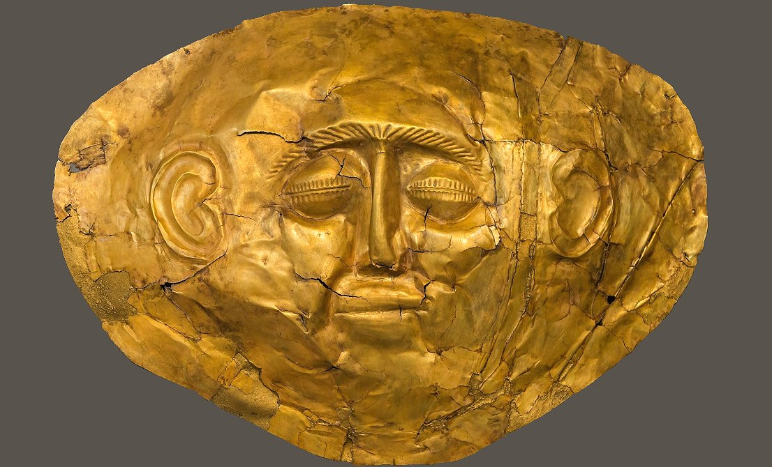 Gold mask discovered in Mycenae - full-day tour to Argolis - Epidaurus Mycenae Nafplion - Corinth Canal- Greek Travel Packages - Travel to Greece - Tours in Greece - Travel Agency in Greece