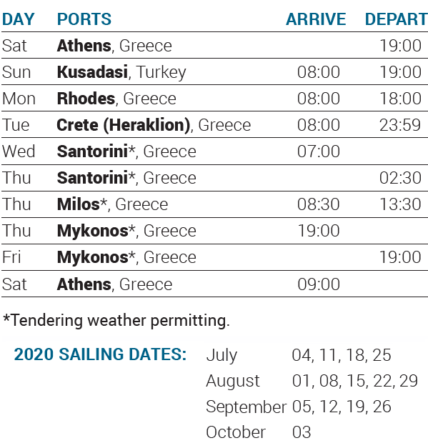 Itinerary 2020 - 7-day cruise Idyllic Aegean - Cruises in Greece - Greek cruises - Greek Travel Packages - Cruise Greek islands - Travel to Greek islands - Tours in Greece - Atlantis Travel Agency in Athens Greece