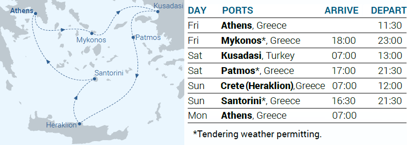 Itinerary Map - 3-day cruise Iconic Aegean - Cruises in Greece - Greek cruises - Greek Travel Packages - Cruise Greek islands - Travel to Greek islands - Tours in Greece - Travel Agency in Greece