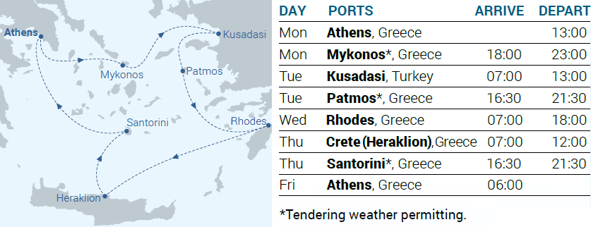 Itinerary Map - 4-day cruise Iconic Aegean - Cruises in Greece - Greek cruises - Greek Travel Packages - Cruise Greek islands - Travel to Greek islands - Tours in Greece - Travel Agency in Greece