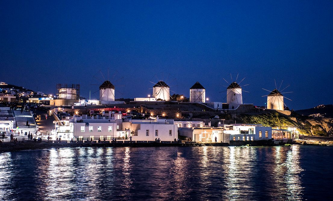 Mykonos windmills by night - Cruises in Greece - Greek cruises - Greek Travel Packages - Cruise Greek islands - Travel to Greek islands - Tours in Greece - Travel Agency in Greece