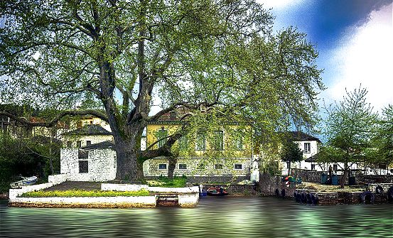 Ioannina island on the lake